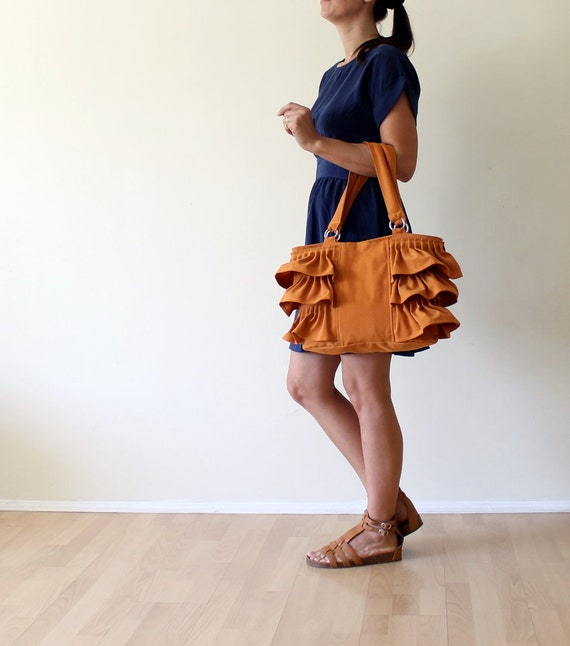 Last ONE Flamenco in Dark Mustard Tote Bag / Canvas Ruffles Bag / High Fashion / Shoulder Bag / Zipper Closure / Burnt Orange / Rust / Large