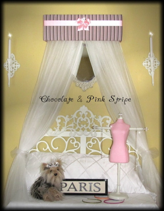 Princess Crown Bed Canopy Valance Sale Stripe Pink Brown White
