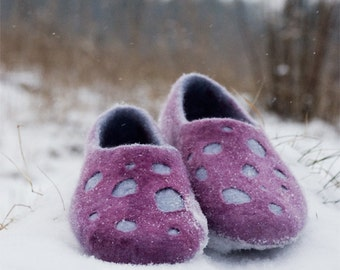 Handmade felted women slippers, traditional natural wool valenki, Purple, gray cozy home shoes