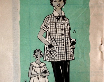 Vintage 1950s Maternity Blouse & Skirt Pattern Anne Adams 4705 Mail Order Bust 32