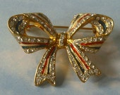 Vintage Red White and Blue Bow Brooch