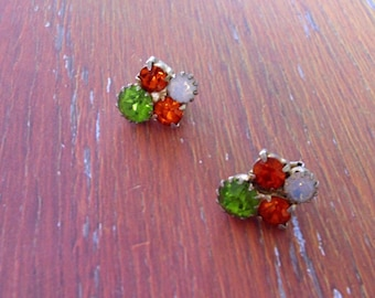 Vintage Festive Rhinestone Earrings