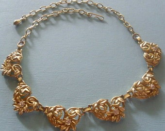 Vintage Leafy Rhinestone Necklace