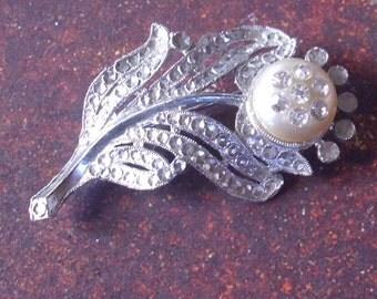 Antique Rhinestone Flower Pin Brooch