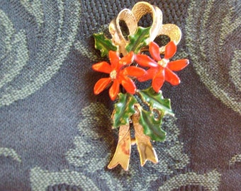Vintage Red Poinsettia Bouquet Signed Brooch