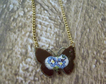 Vintage Flowery Butterfly Pendant Necklace