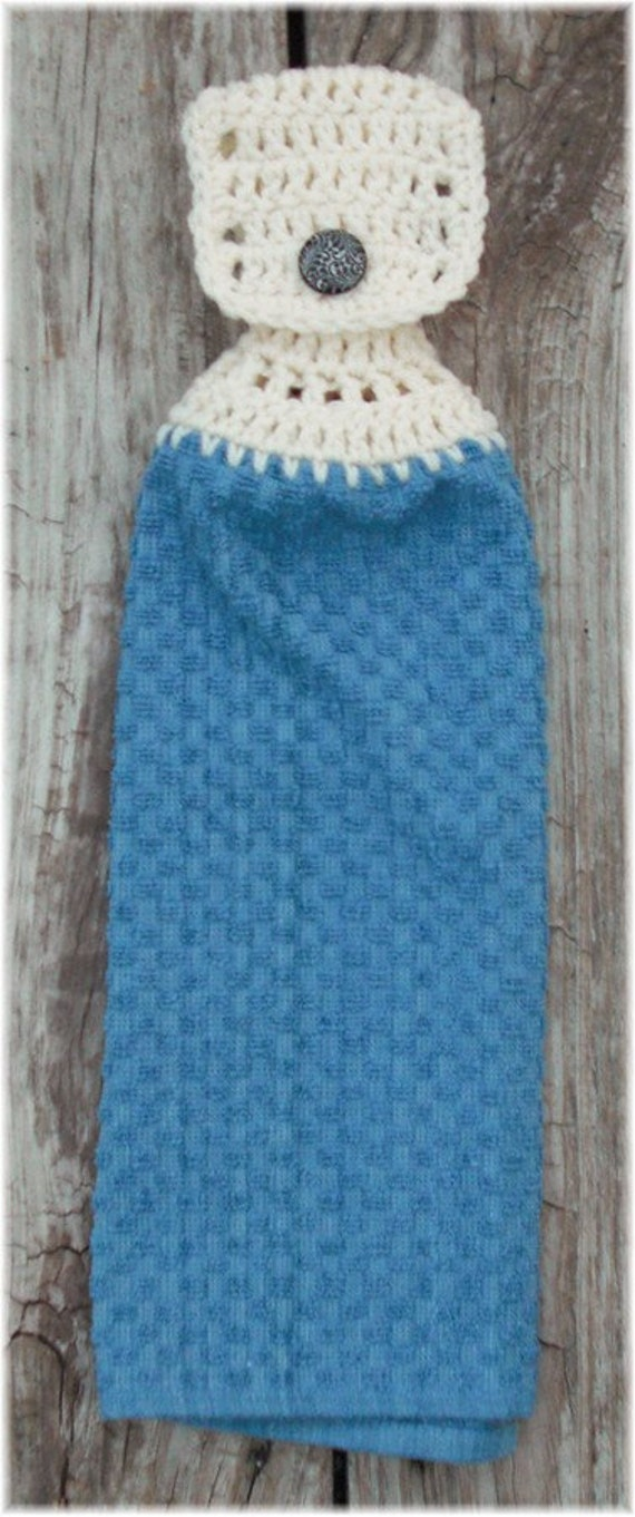 Hanging Kitchen Towel Blue with White Top
