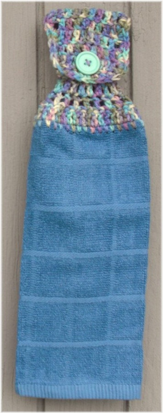 Hanging Kitchen Towel Blue with Variegated Top