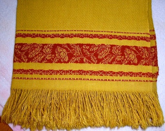 Vintage Linen Handwoven Show Towel Antique Damask Turkey Red Marigold