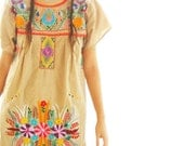 Mexican Dress Bohemian Embroidered Dress short Beige Floral or Peacock Khaki Colorful