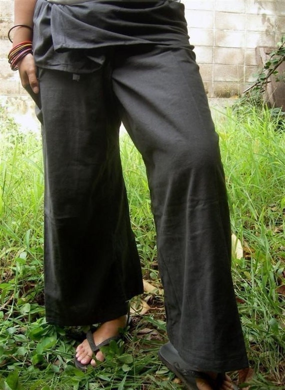 Gray CottoN THAI Fisherman Wrap Pants Perfect for All SIZE