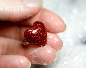 Ruby Red Heart Ring, your heart's desire, Sparkly Deep Red Glitter Resin ring, love token for her, cute heart jewelry handcrafted isewcute