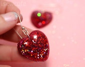 Dangle Heart Earrings, Glitter Resin, red dangle hearts, romantic red glitter jewellery, multicolor sparkly highlights handcrafted, isewcute