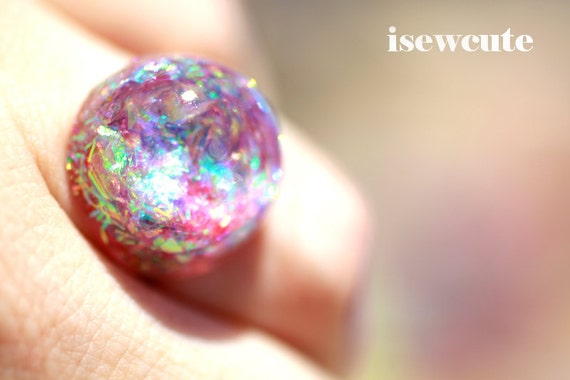 Jewelry, Ring, Glitter, Resin Ring, Beach Friendly Glitter Resin Bubble Dome MIni Ring in Pastel Pretty Irridescent Colors Handmade isewcute