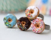 Donut Ring - Sprinkles or Confetti on Chocolate, White, Pink or Blue Sugar Icing - Donut Collection