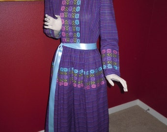 Vintage 70's Women's Maxi Dress Purple and Blue Color with Floral Embroidered Fabric Trim  Beautiful -Bust 36""