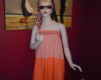 Vintage 70's Women's Dress or Skirt  Cover-Up Elastic Smocking Bright Orange Colors Waist or Bust to 32""