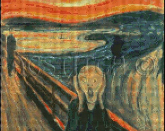 Edward Munch THE SCREAM cross stitch pattern No.49