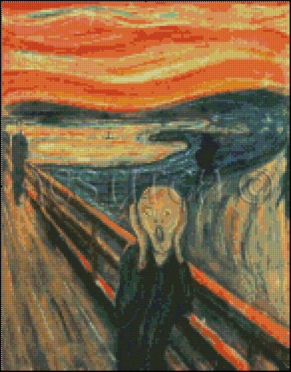 Edward Munch THE SCREAM cross stitch pattern No.49