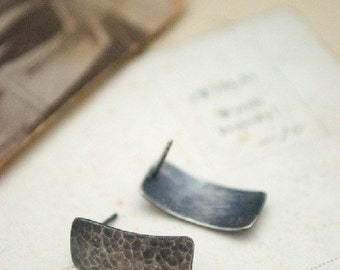 Sojourn: small hammered rectangle post (ready to ship) - post earrings