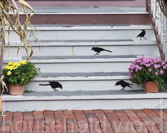 Halloween Farmhouse fall decor Black Crow Decals Small Stickers Halloween Stair Decals Halloween Decal Black Bird Decal Crow Decor
