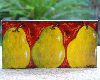 Trio of Pears original painting 6x12