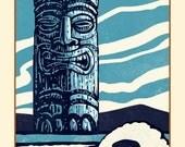 "Guardian- 8"" x 10"" Tiki print- Tiki Wall Decor- Blue Tiki Art Print"