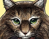 """Joyce Feral Oates 8"""" x 10"""" Whimsical Joyce Carol Oates As A Cat Portrait- Cat Art Wall Decor"""