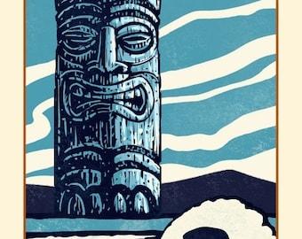 Ancient 8 x 10 Tiki Print Tiki Wall Decor