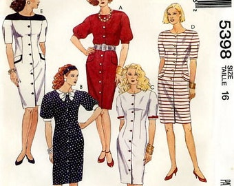 McCall's 5398 Color Block Buttoned Front Sheath Dress Size 16 Bust 38 Uncut Vintage Sewing Pattern 1991