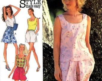 Style 2723 Sleeveless Top Blouse with Shorts Culottes Size 6 8 10 12 14 16 UNCUT Sewing Pattern 1995
