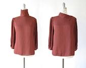draped poly georgette blouse | vintage 80s top | S-M
