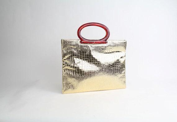 gold foil tote bag | vintage lucite handle shopper | 1960s embossed handbag