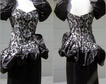 Vintage 80s Iconic Dress Black & Silver Lace Party Pouf Gown Satin - S to XS
