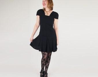 80s Little Black Dress by Liz Claiborne with Swinging Skirt, Square Neckline