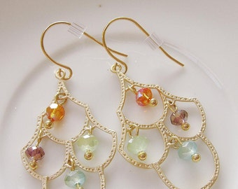 Gold Chandelier Earrings, gold, geometric, Multi color Crystals, Dangle, Bridesmaid Earrings, Bridal Jewelry