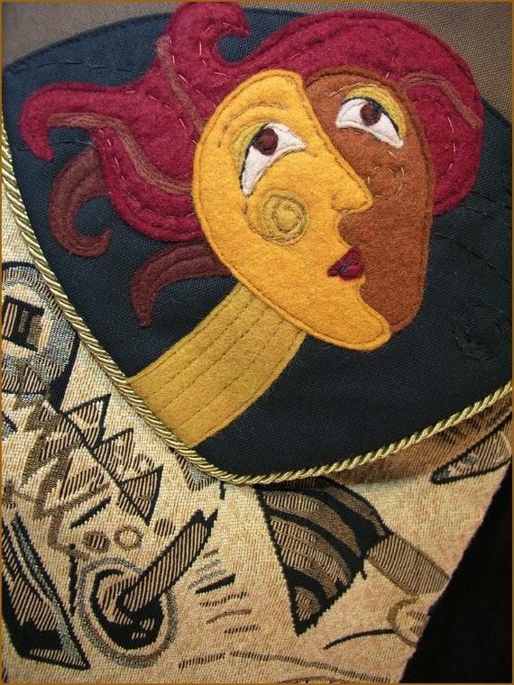 Fiber Art Fanciful FINN Bag Wearable Art BIG Tapestry Shoulder Bag