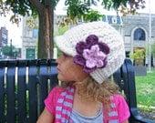 Toddler Girl Hat 1T - 2T Cream Toddler Hat Toddler Girl Clothes Purple Plum Pink Blossom Flower Hat Flapper Beanie Flapper Hat Winter Hat