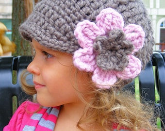 Toddler Girl Hat 2T to 4T Taupe Toddler Hat Pink Blossom Crochet Flower Hat Flower Beanie Toddler Girl Clothes Toddler Clothes Winter Hat
