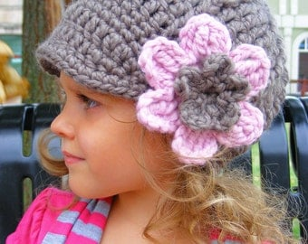 5 Sizes Taupe Flower Hat Pink Blossom Winter Hat Baby Hat Baby Girl Hat Toddler Hat Toddler Girl Hat Womens Hat Crochet Flower Hat Flapper