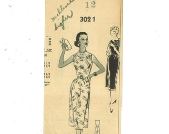 1950s Vintage Sewing Pattern Mail Order 3021 Misses Wiggle Sheath Dress Sleeveless Size 12 Bust 30 50s B30  99
