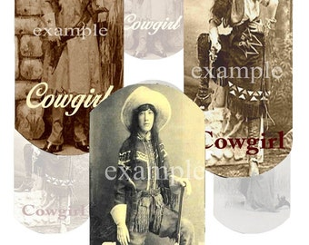 Vintage Cowgirl Dog Tags Digital Collage Sheet 3 With Words