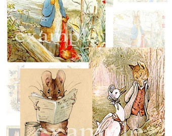 Beatrix Potter Characters...Illustrations...Digital Collage Sheet