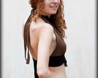 CARMINE BRA TOP - Organic burlesque tribal belly dance faery steampunk fairy Burning man Pixie Halloween costume - Brown Black