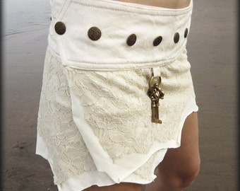 SHORT PIXIE SKIRT - Organic Faery fairy costume Bride Wedding Tribal Burning man - Off white Cream
