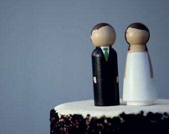 Semi-Custom Personalized Wedding Cake Toppers Bride/Groom Wedding Decor The Original Peg Dolls - Fair Trade Wooden Dolls