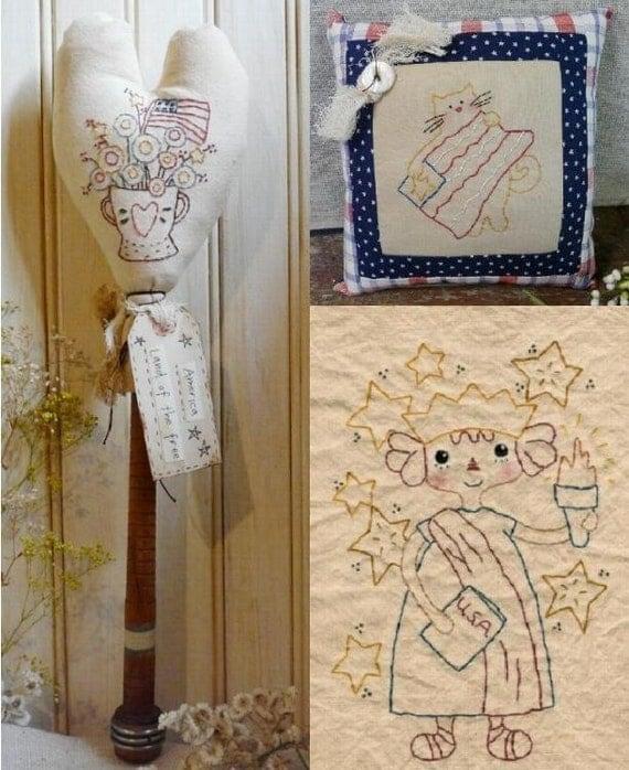 AMERICA Lady Liberty embroidery PDF PATTERN - 3 designs