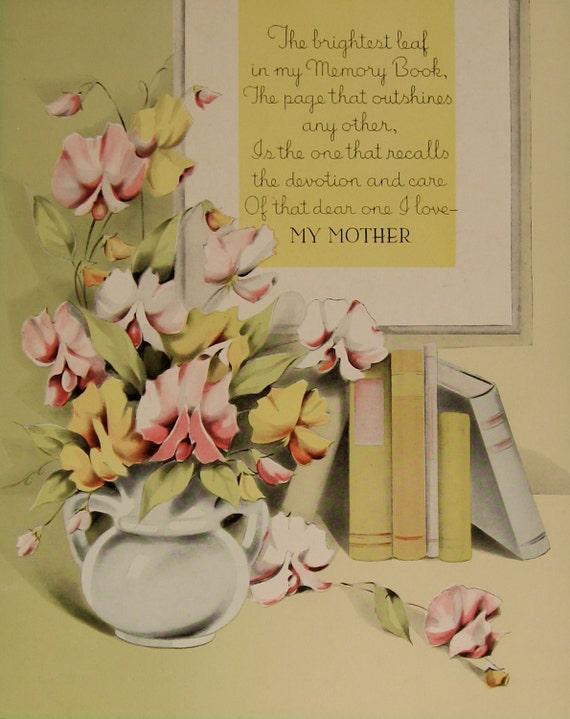 Items similar to vintage print mother poem paper ephemera ...