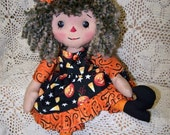12 inch Primitive Raggedy Willow Witch Doll ET