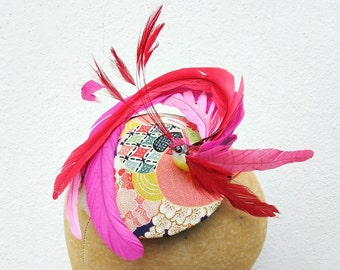Feather Fascinator, Cocktail Hat, Bird Hat, Pink , Red, Surreal, Adorable- Batcakes Couture